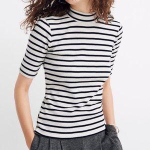 Madewell Striped Retro Ribbed Mock Neck Shirt XXS